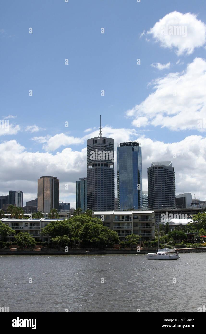 View of Brisbane CBD from Brisbane river, Australia - Stock Image
