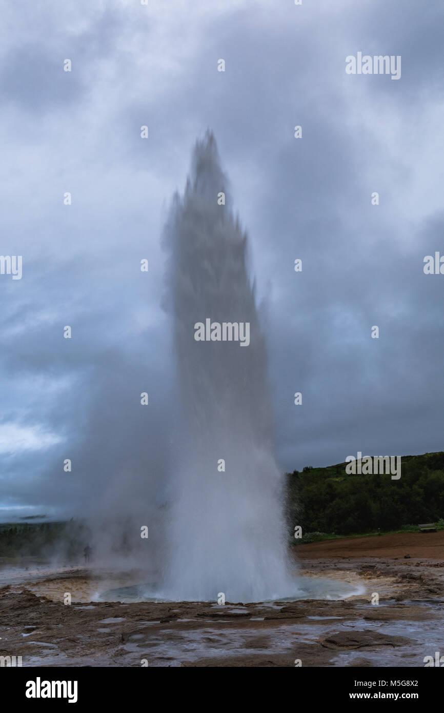 Geyser strokkur eruption in the geysir area iceland - Stock Image