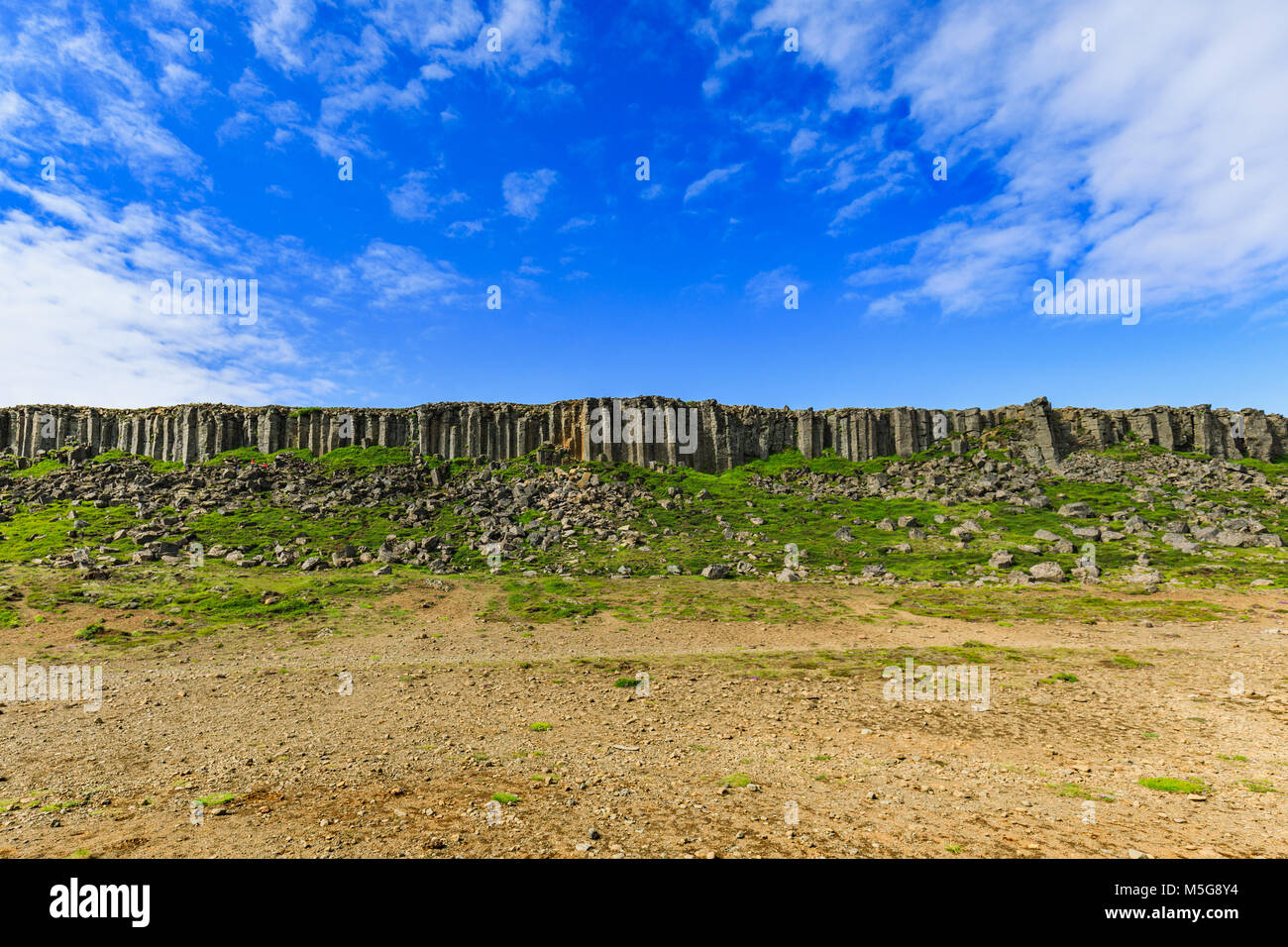 The basalt gerduberg cliffs located in west iceland - Stock Image