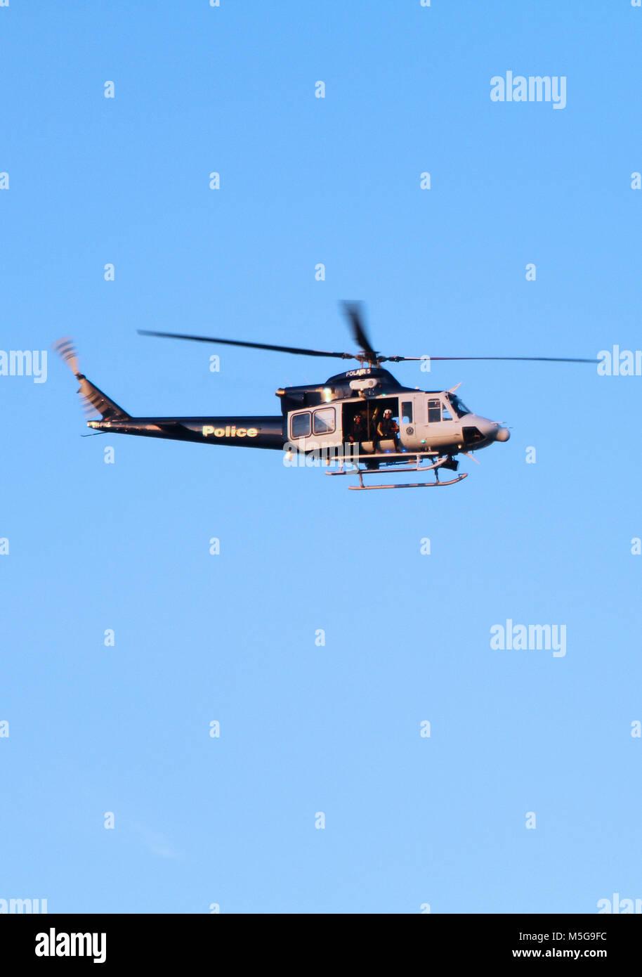 Sydney Harbour police patrol helicopter, Australia Stock Photo