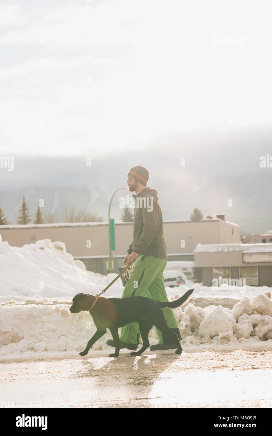 Man walking with his dog on sidewalk - Stock Image