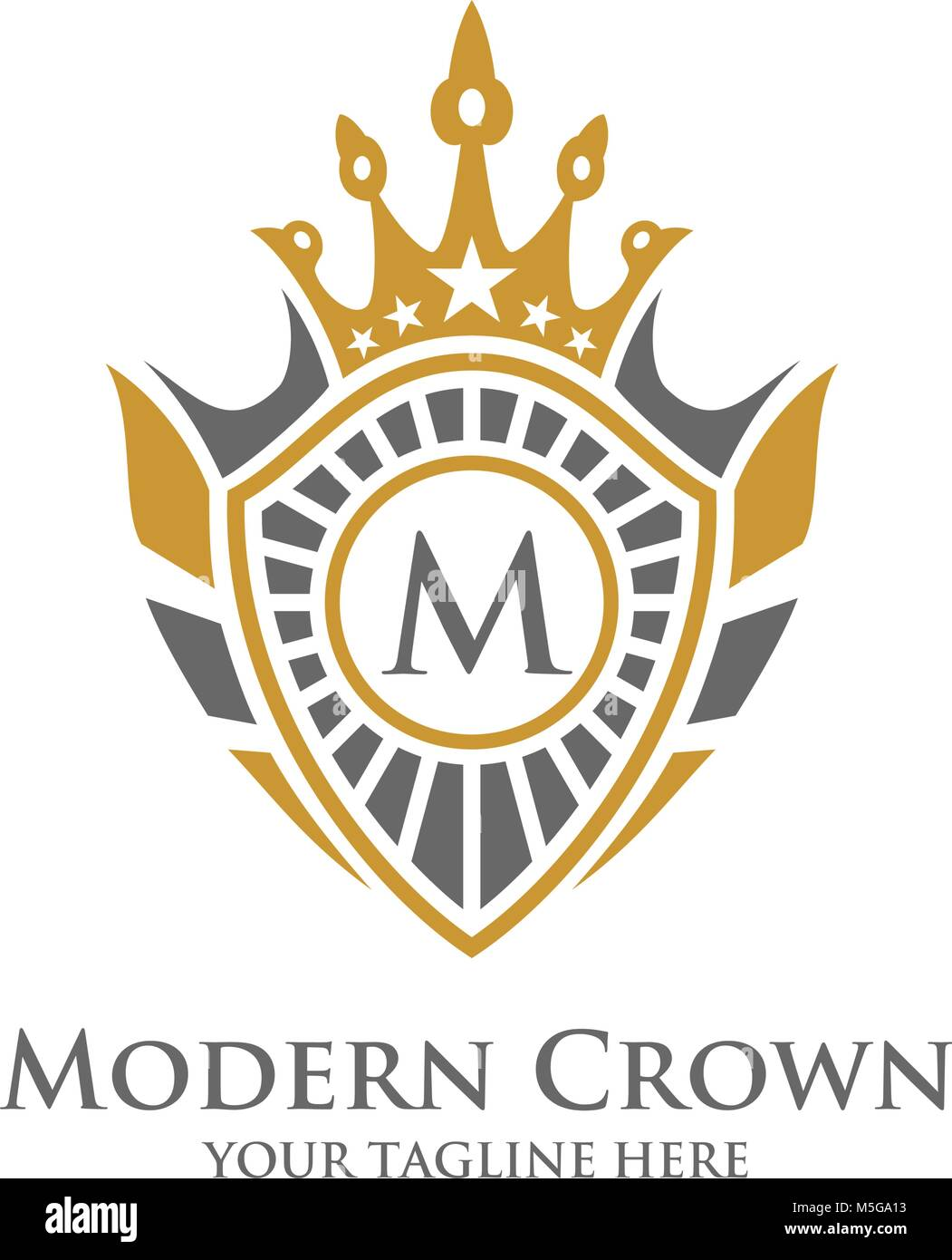 Heraldry Typography Vector Logo Design with Luxury Crown Decorative ...