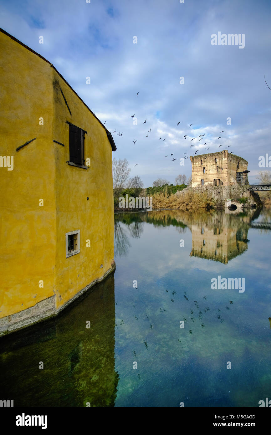 Borghetto sul Mincio is one of the most beautiful villages in Italy, one of those places that seem unreal. Perfect - Stock Image