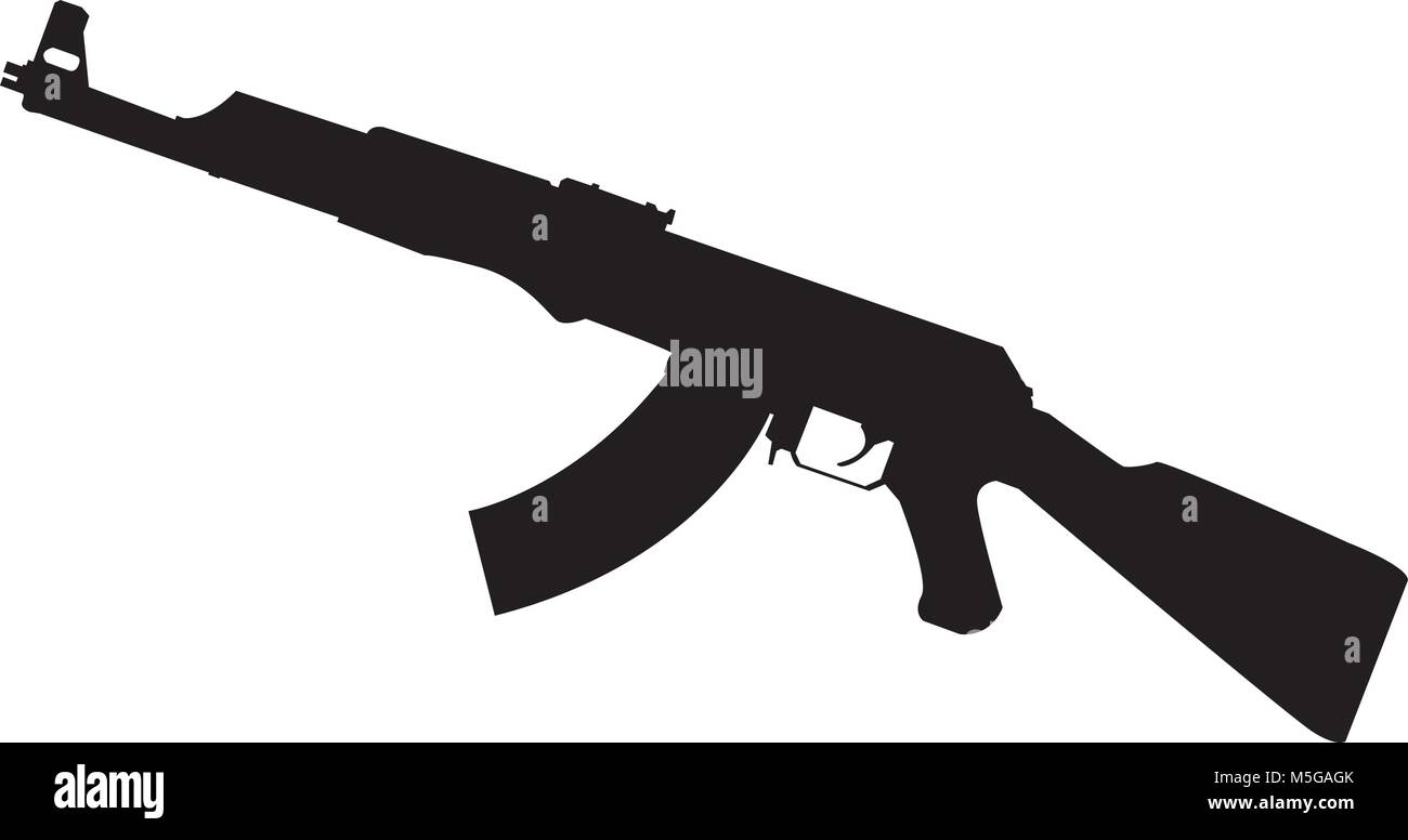 Gun silhouette, vector illustration - Stock Vector