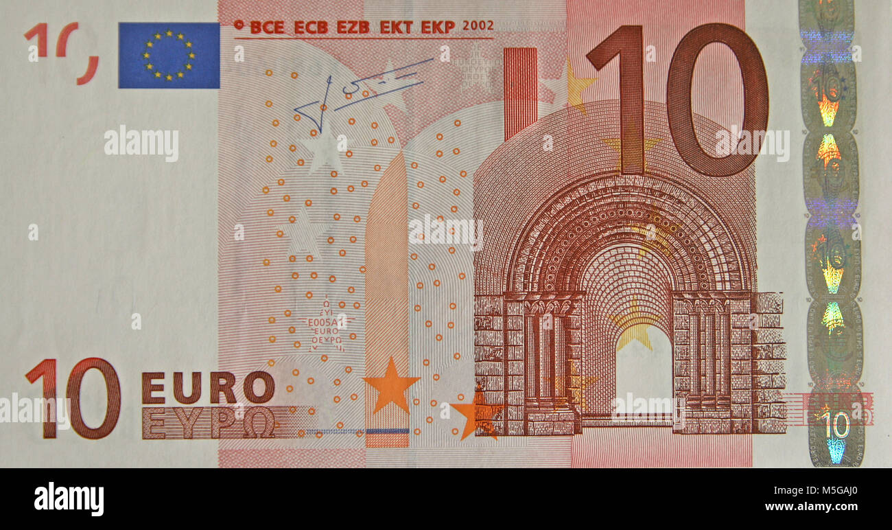 Close-up of the obverse side of a ten Euro banknote - Stock Image