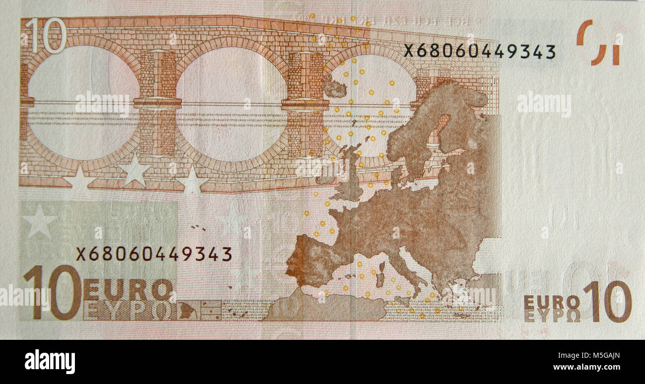 Close-up of the reverse side of a ten Euro banknote - Stock Image