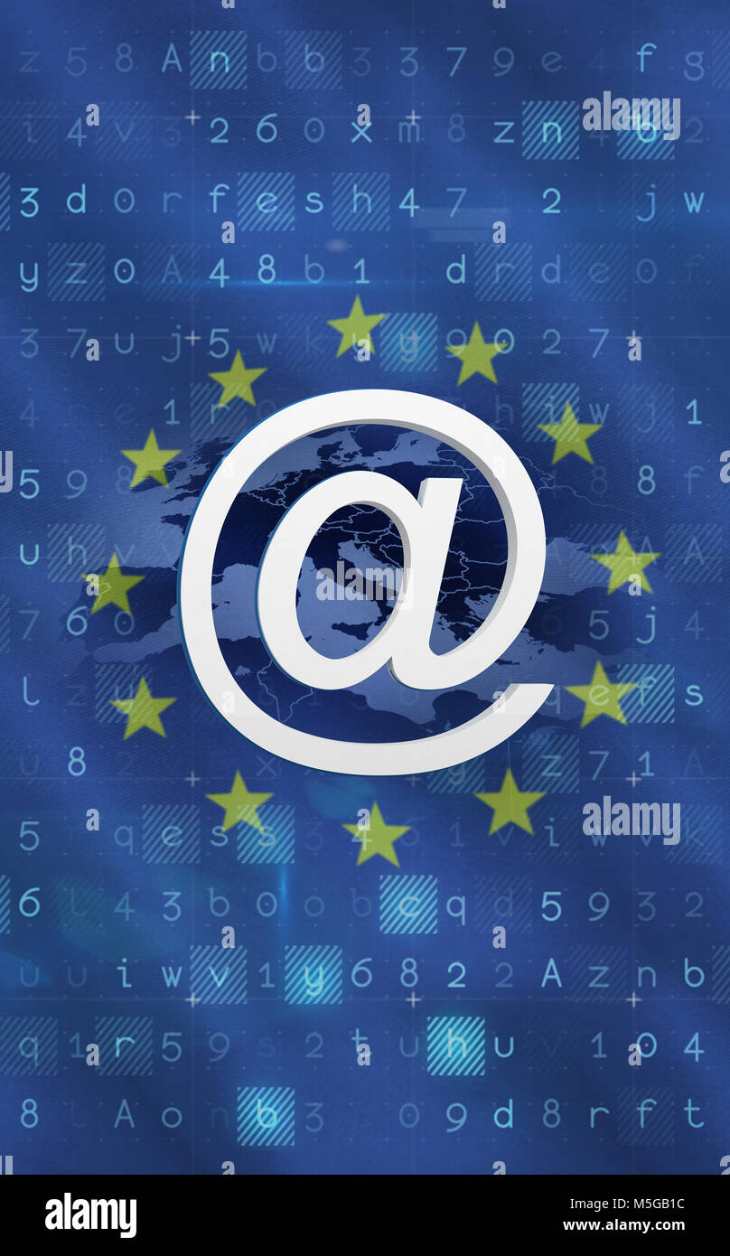European union flag with binary codes and @ sign - Stock Image