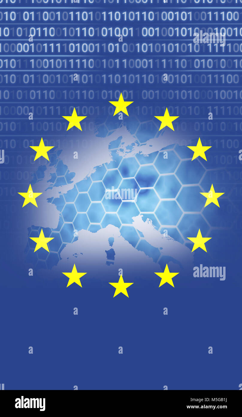 European union flag with binary codes - Stock Image