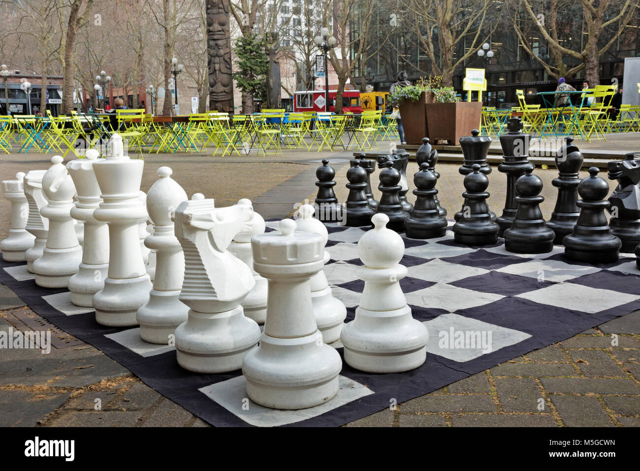 WASHINGTON   Large Outdoor Chess Set As Well As Tables, Chairs, Ping Pong  Tables And Foos Ball Games Set Out For A Fun Place To While Awa