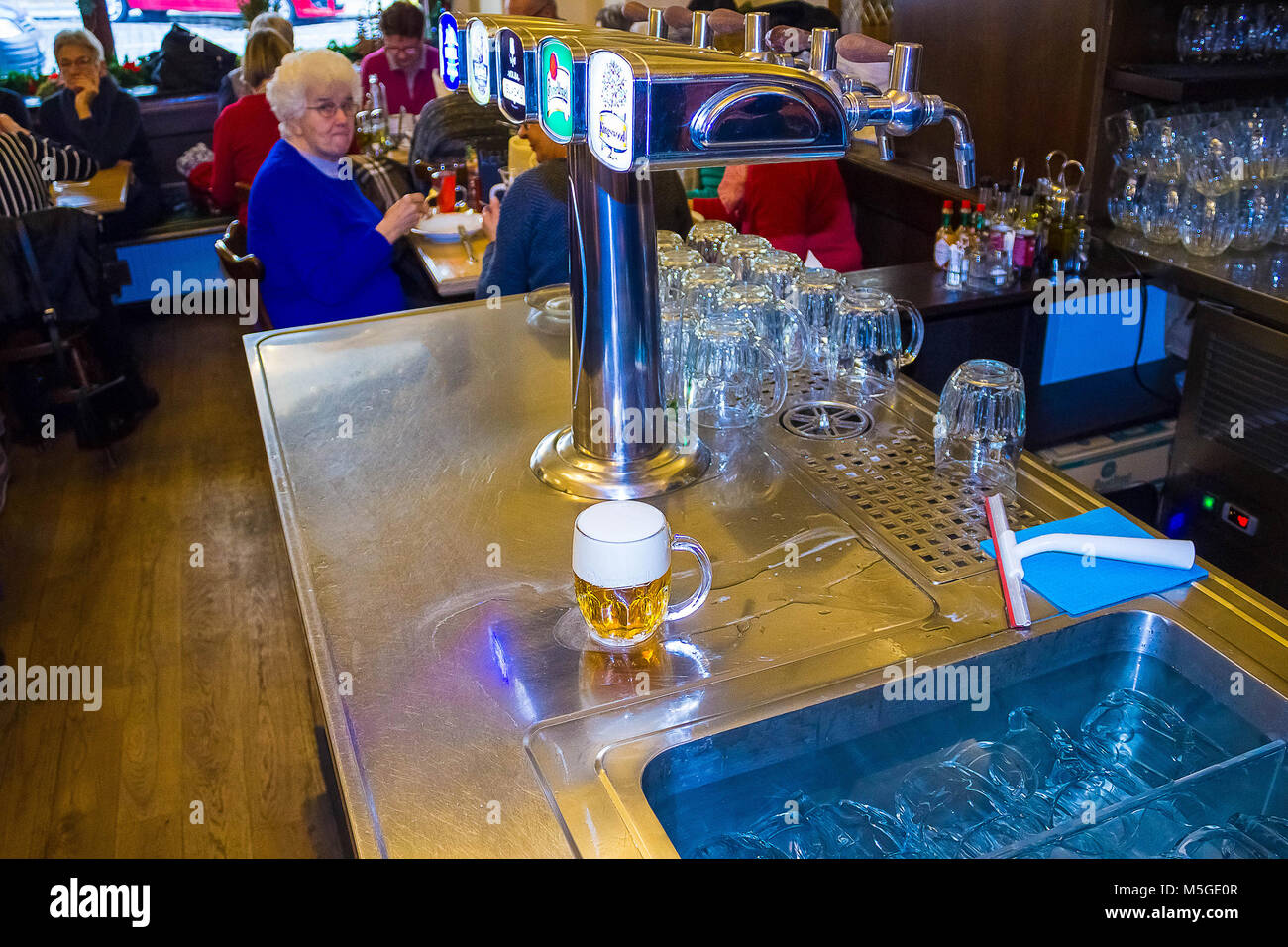 Prague, Czech Republic - December 31, 2017: A variety of beer taps in a pub in Prague - Stock Image