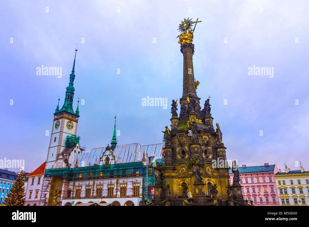 Olomouc, Cszech Republic - January 02, 2018: The city model sculpture in the Olomouc, Bohemia, Czech republic, Europe. - Stock Image