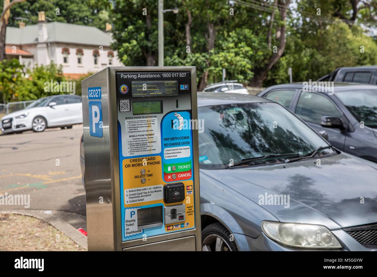 Council car parking meter in Sydney,Australia - Stock Image