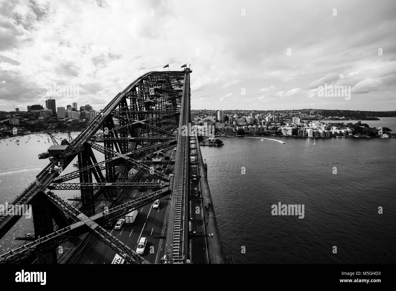 North of sydney City view with harbour bridge as foreground - Stock Image