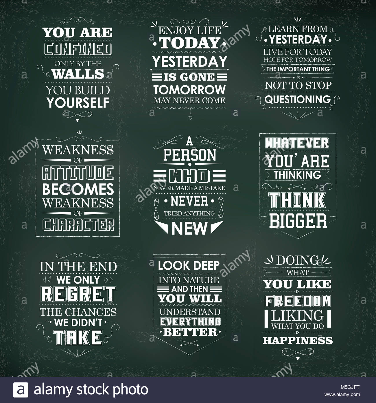 Positive Quotes Set Isolated On Green Background