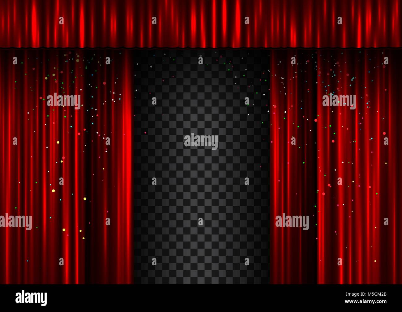 Red open double curtains scene template. Easy to edit curtain width and shadow - Stock Vector