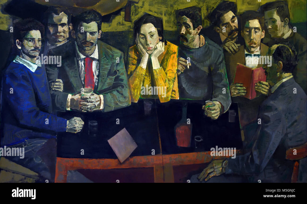 La Cepa- Strain ( nine characters that pose for the painter around a table with wine and glasses, as in a photograph - Stock Image