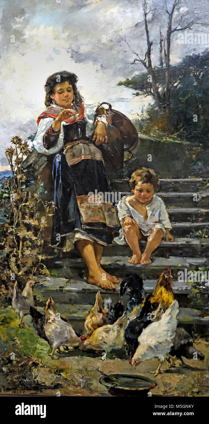 The chickens (1886) by Tomás Muñoz Lucena 19th, century, Spain, Spanish, - Stock Image
