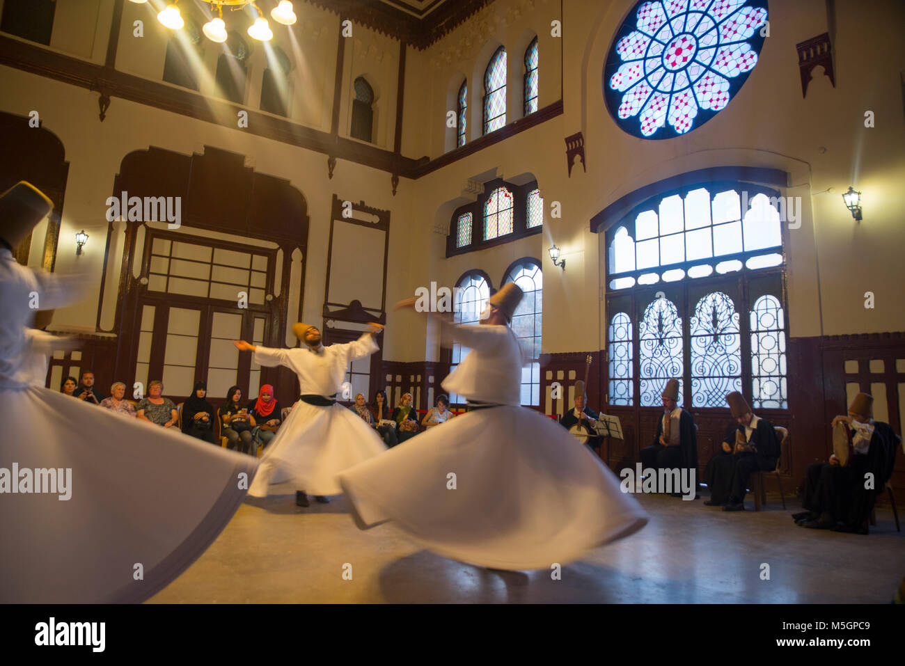Whirling Dervish, event hall, Sirkeci train station - Stock Image
