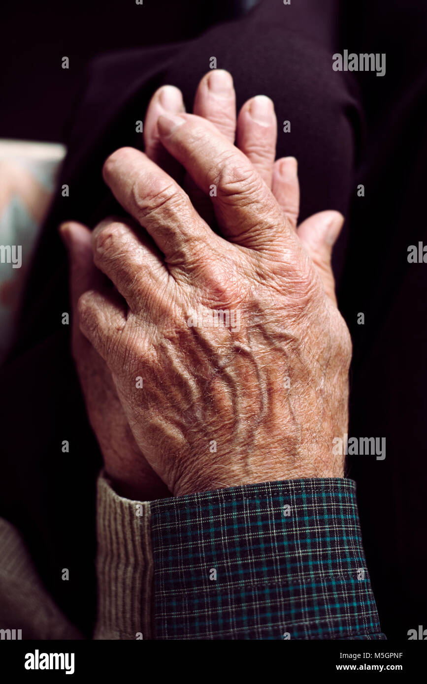 high angle view of an old caucasian man and an old caucasian woman sitting in a couch holding hands with affection - Stock Image