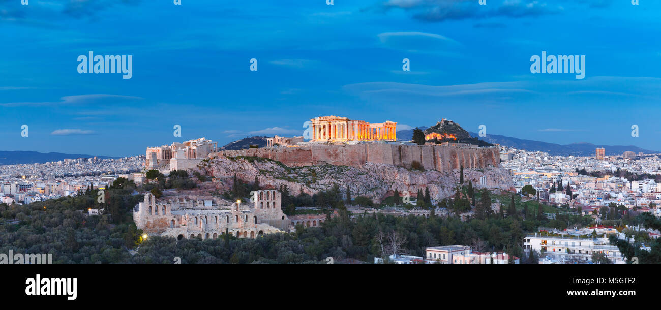 Acropolis Hill and Parthenon in Athens, Greece Stock Photo