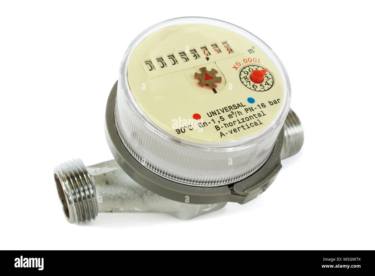 Water meter for domestic water on white background - Stock Image
