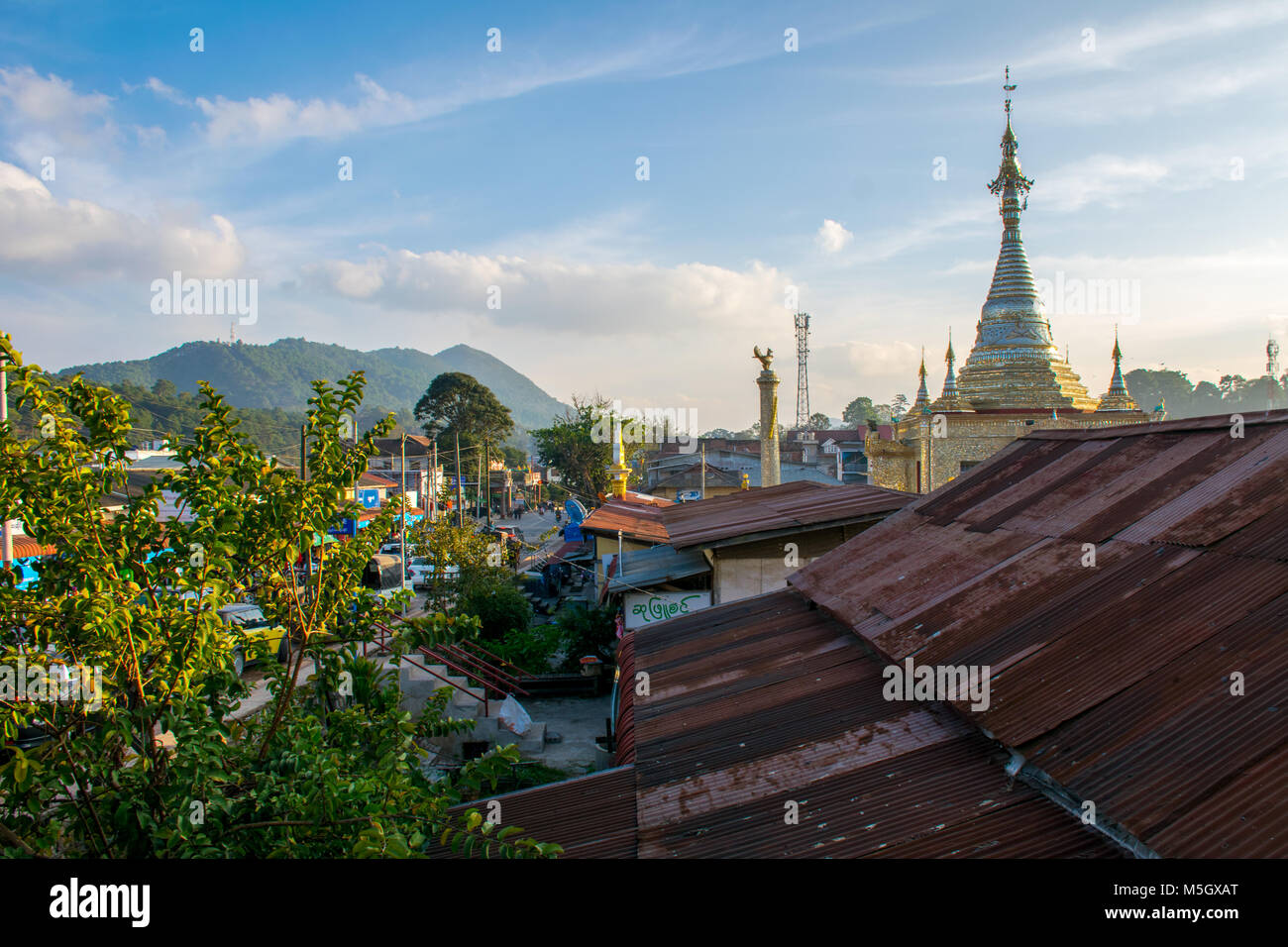 View over Kalaw in Shan State, Myanmar Stock Photo
