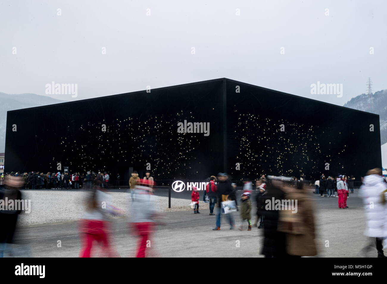 PYEONGCHANG, SOUTH KOREA - FEBRUARY 23, 2018: A pavilion, nicknamed the super-black building, designed by British - Stock Image