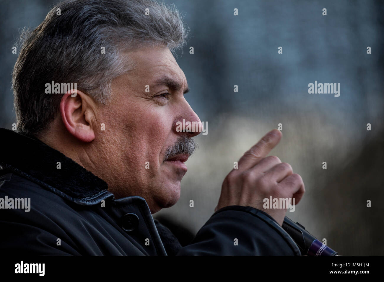 Moscow, Russia. 23rd Feb, 2018. Pavel Grudinin, the presidential candidate for the Communist Party of the Russian - Stock Image