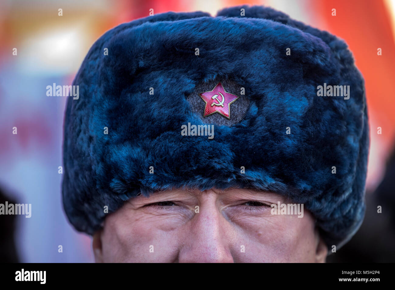 Moscow, Russia. 23rd Feb, 2018. Participants of the march in honor of the 100th anniversary of the Red Army Credit: Stock Photo