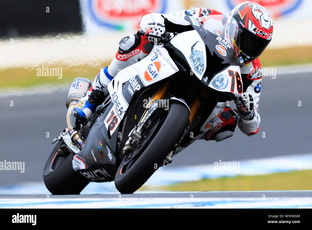 MELBOURNE, AUSTRALIA – FEBRUARY 23: Loris Baz 76 riding for GULF ALTHEA BMW Racing Team in Superpole 1 at the 2018 Stock Photo
