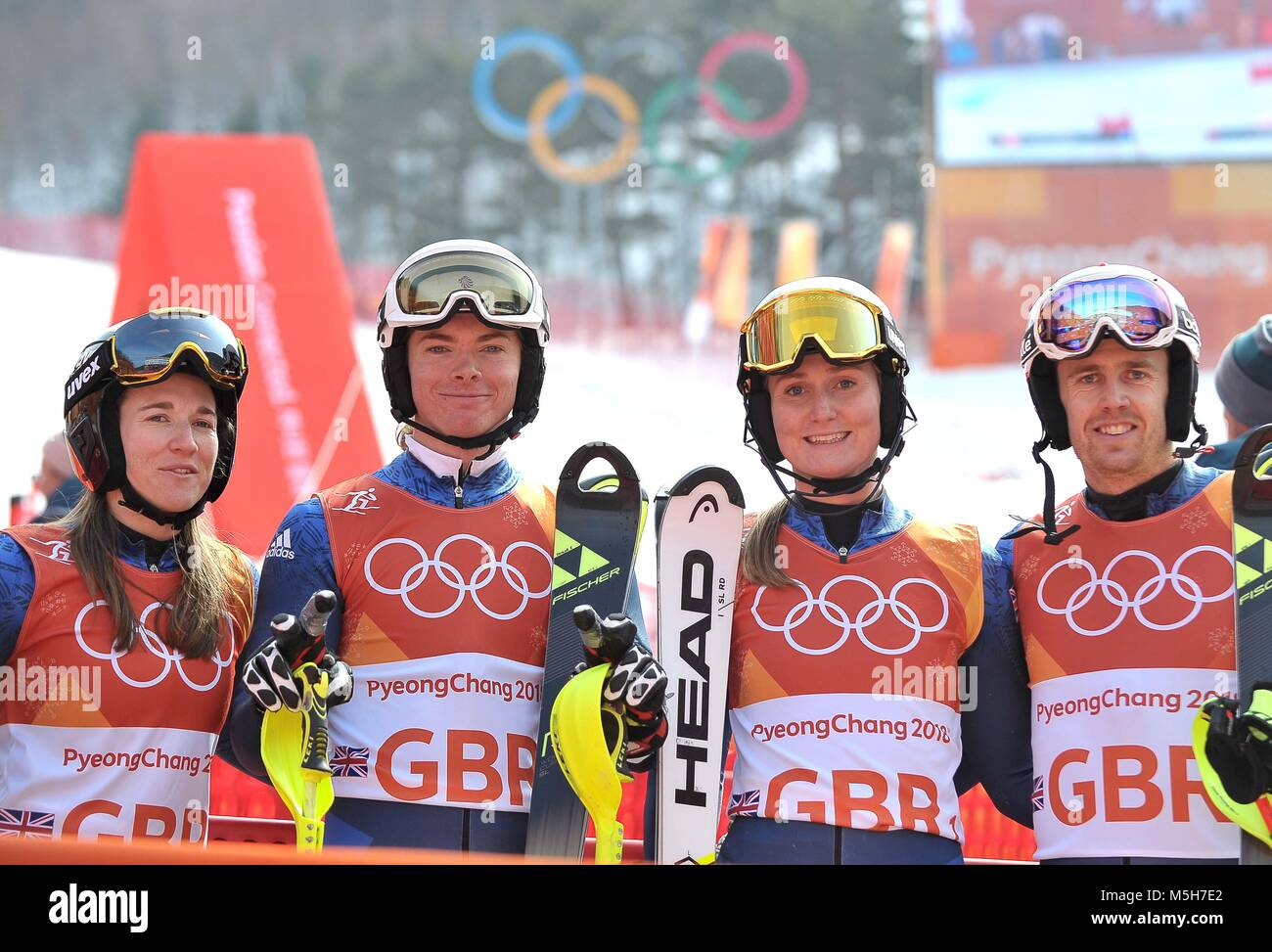 Pyeongchang, South Korea. 24th February, 2018. (l to r) Alex Tilley (GBR), Laurie Taylor (GBR), Charlie Guest (GBR) - Stock Image