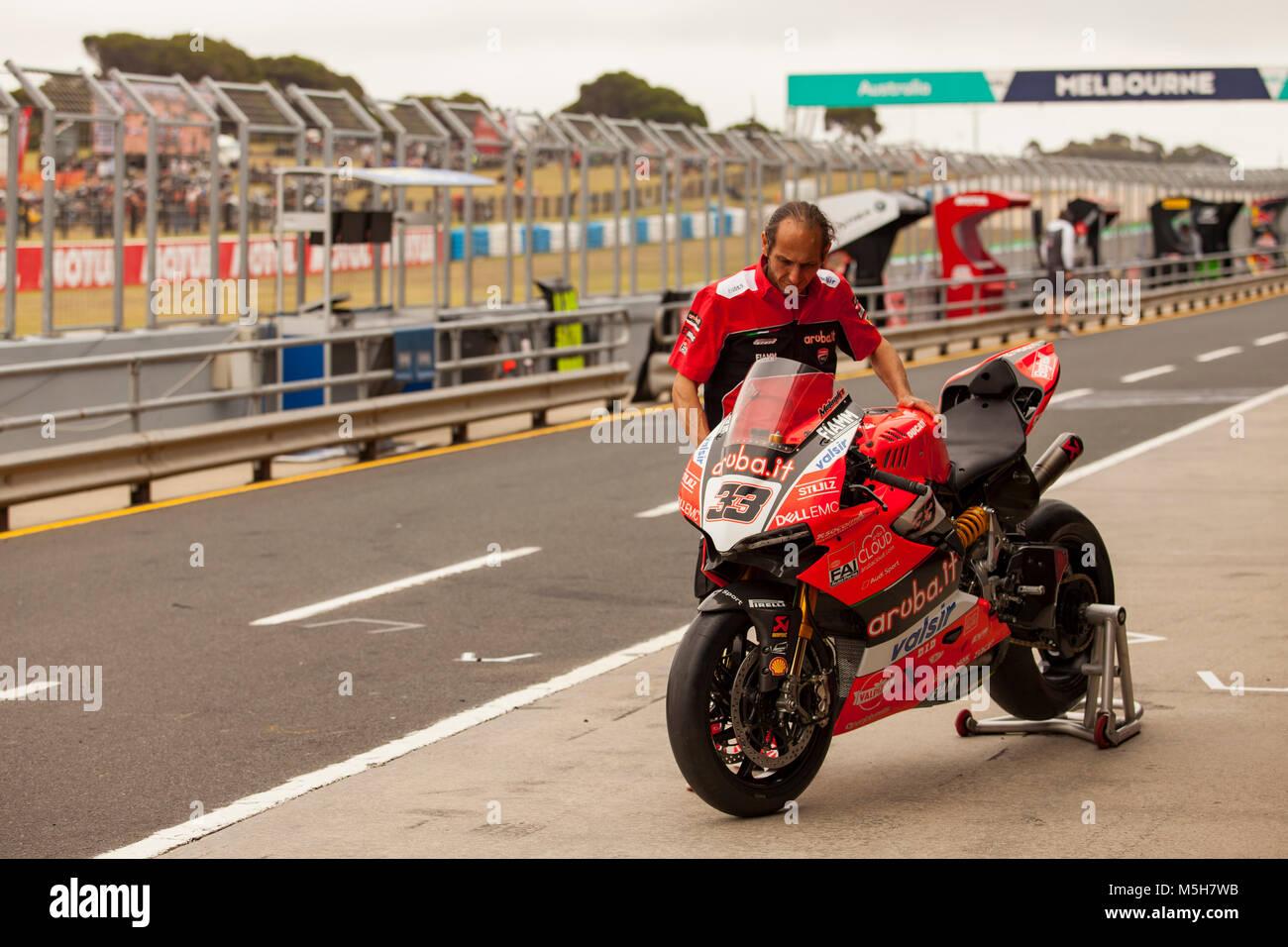 Saturday, 24 February, 2018. FIM Superbike World Championship. Phillip Island, Australia. Marco Melandri's Ducati Stock Photo