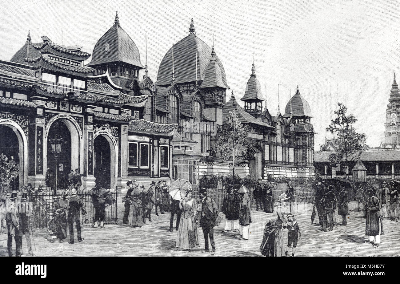 Annamite Pavilion from Annam, former Name of Vietnam, at the 1889 Universal Exposition, Exposition Universelle or - Stock Image