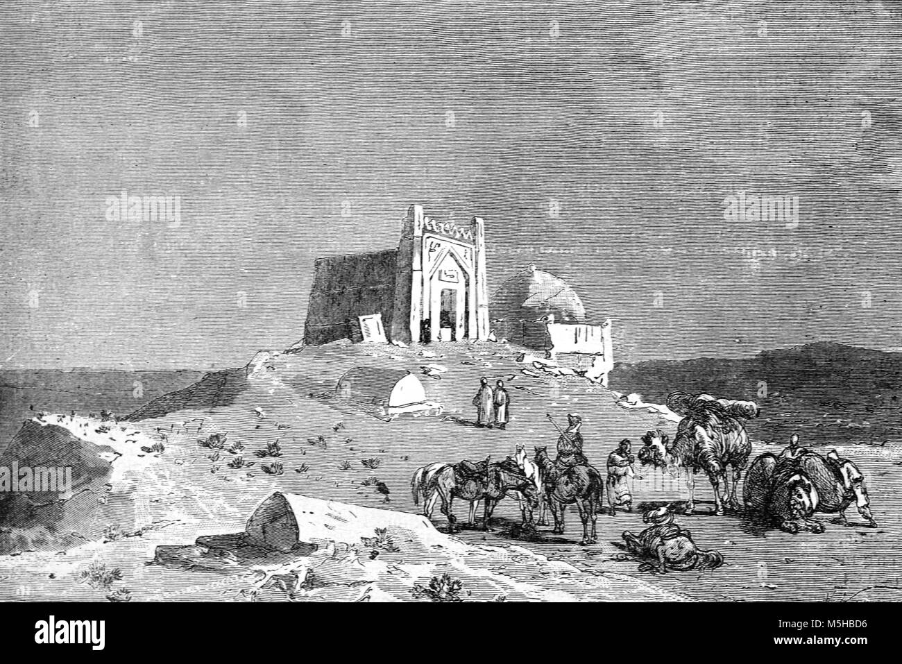 Tomb or Mausoleum of Seljuk Sultan Ahmad Sanjar (1157) in the Ruins of the Ancient City of Merv, near Mary, Turkmenistan Stock Photo