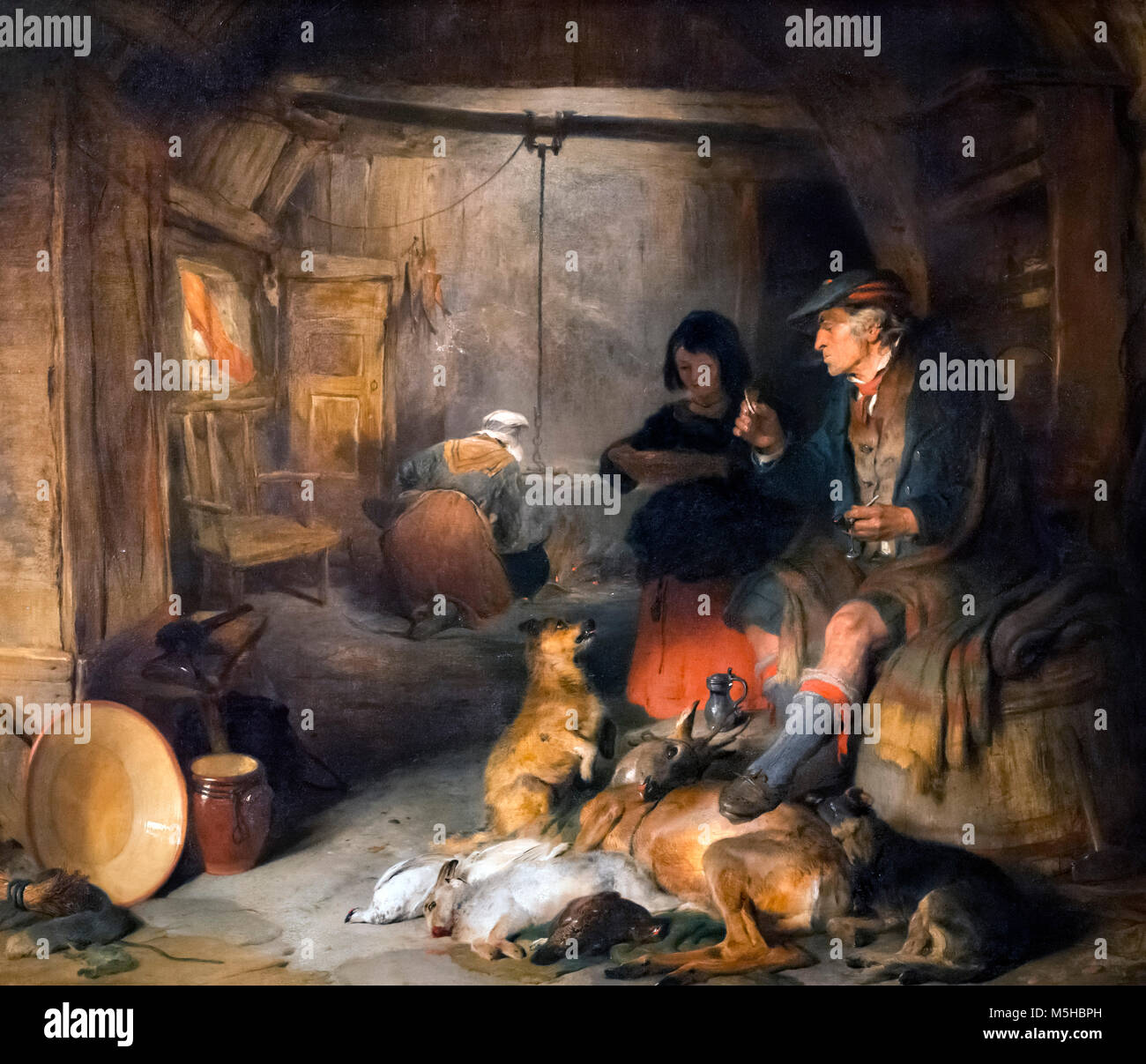 Edwin Landseer. Interior of a Highlander's House by Sir Edwin Henry Landseer (1802-1873), oil on board, c.1831 - Stock Image