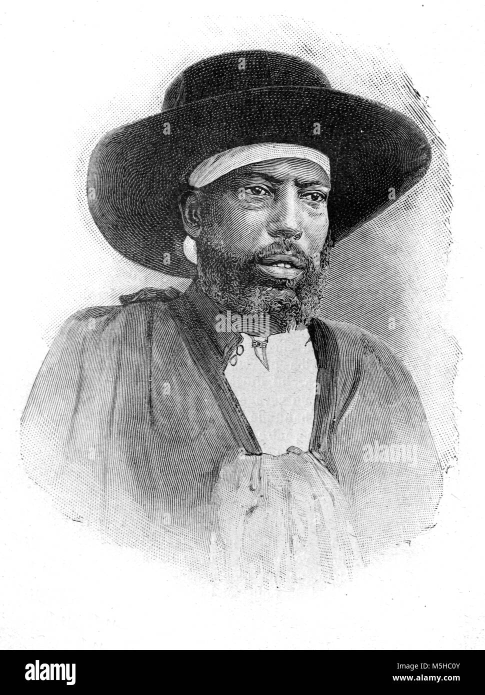 Portrait of Menelik II (1844-1913), Negus or King of Shewa (1866-1889) and Emperor of Ethiopia (1889-1913) (Engraving, - Stock Image