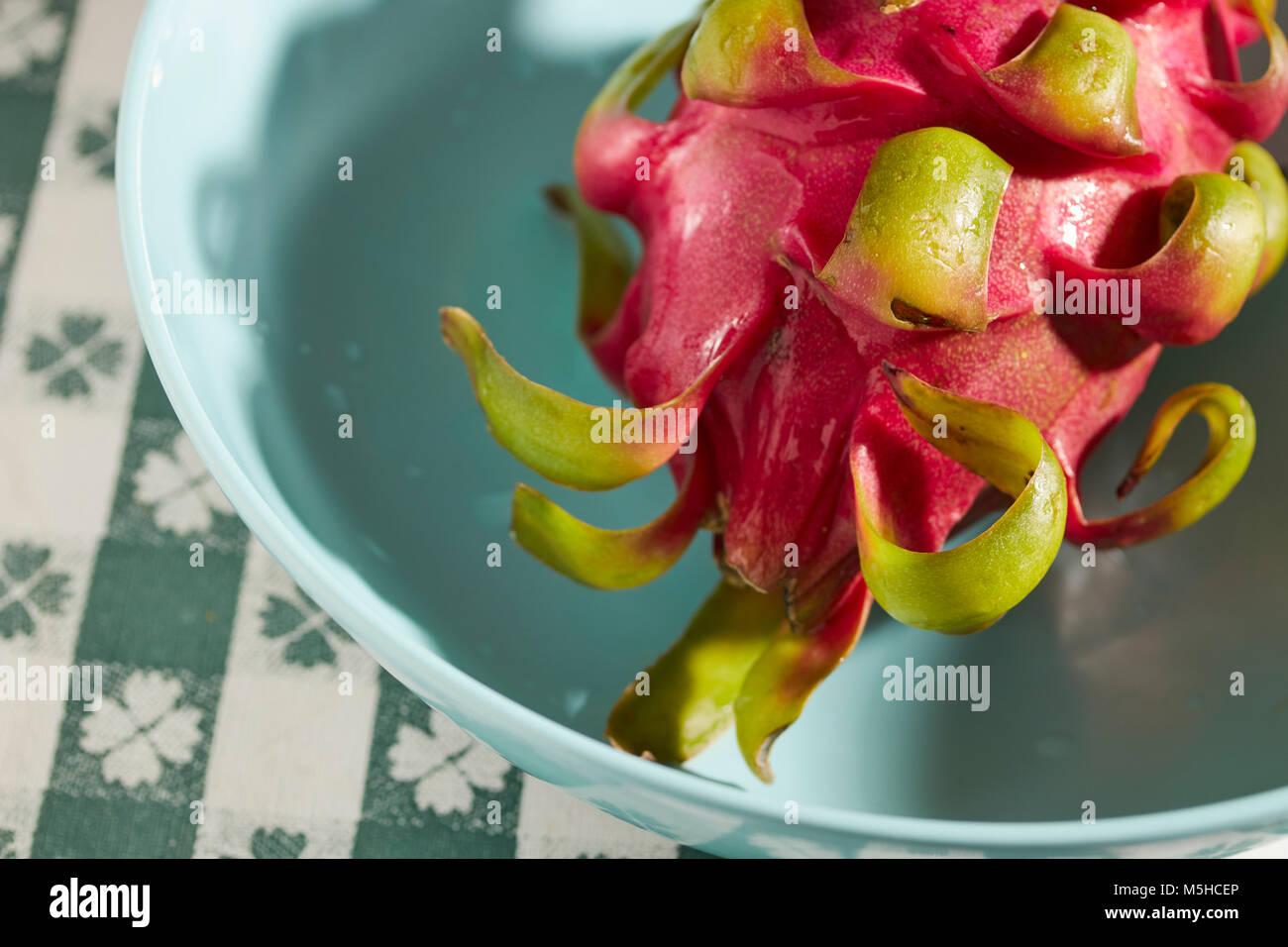 a whole, fresh, ripe Dragon Fruit - Stock Image