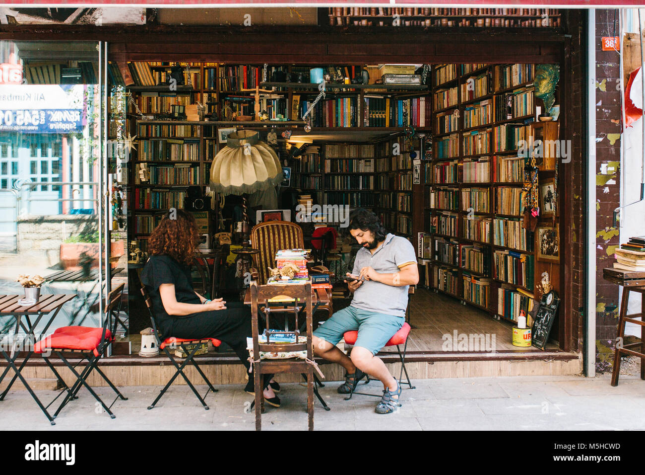 Istanbul, June 14, 2017: Street bookstore in the Asian part of Istanbul in the Kadikoy district. Turkey. The book - Stock Image