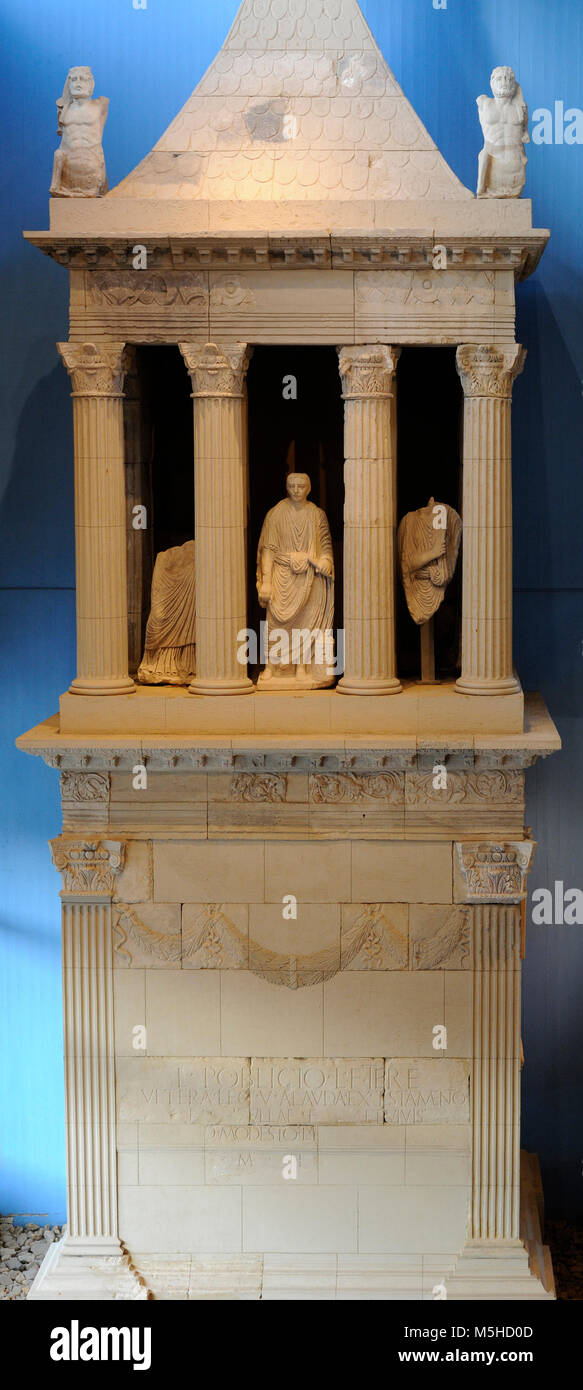 Mausoleum of Lucius Poblicius. 40 AD. Veteran of the 5th Legion. In the central part of the portico with columns - Stock Image