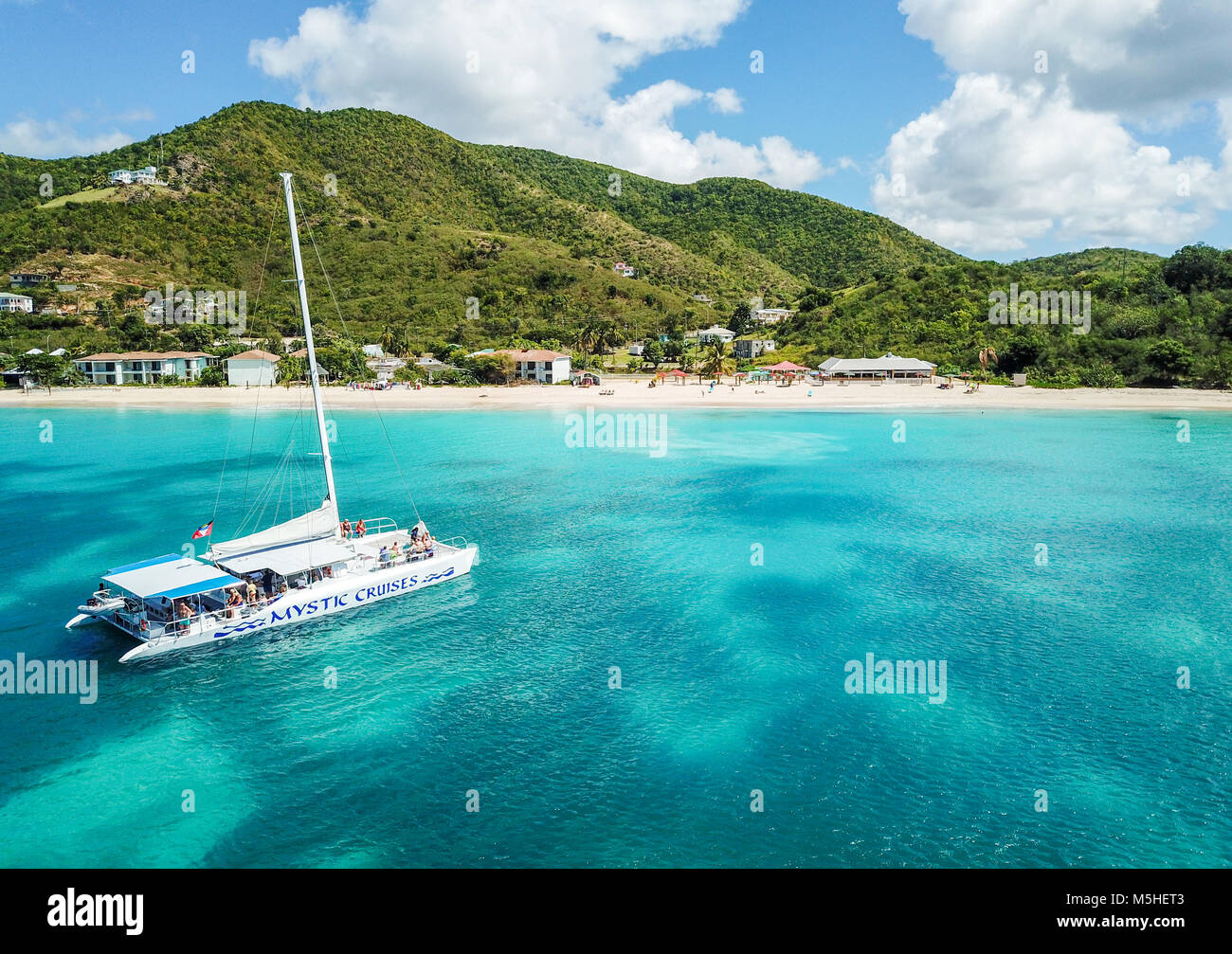 Mystic Cruises tourist Catamaran, Turner's Beach, Picarts Bay - Stock Image