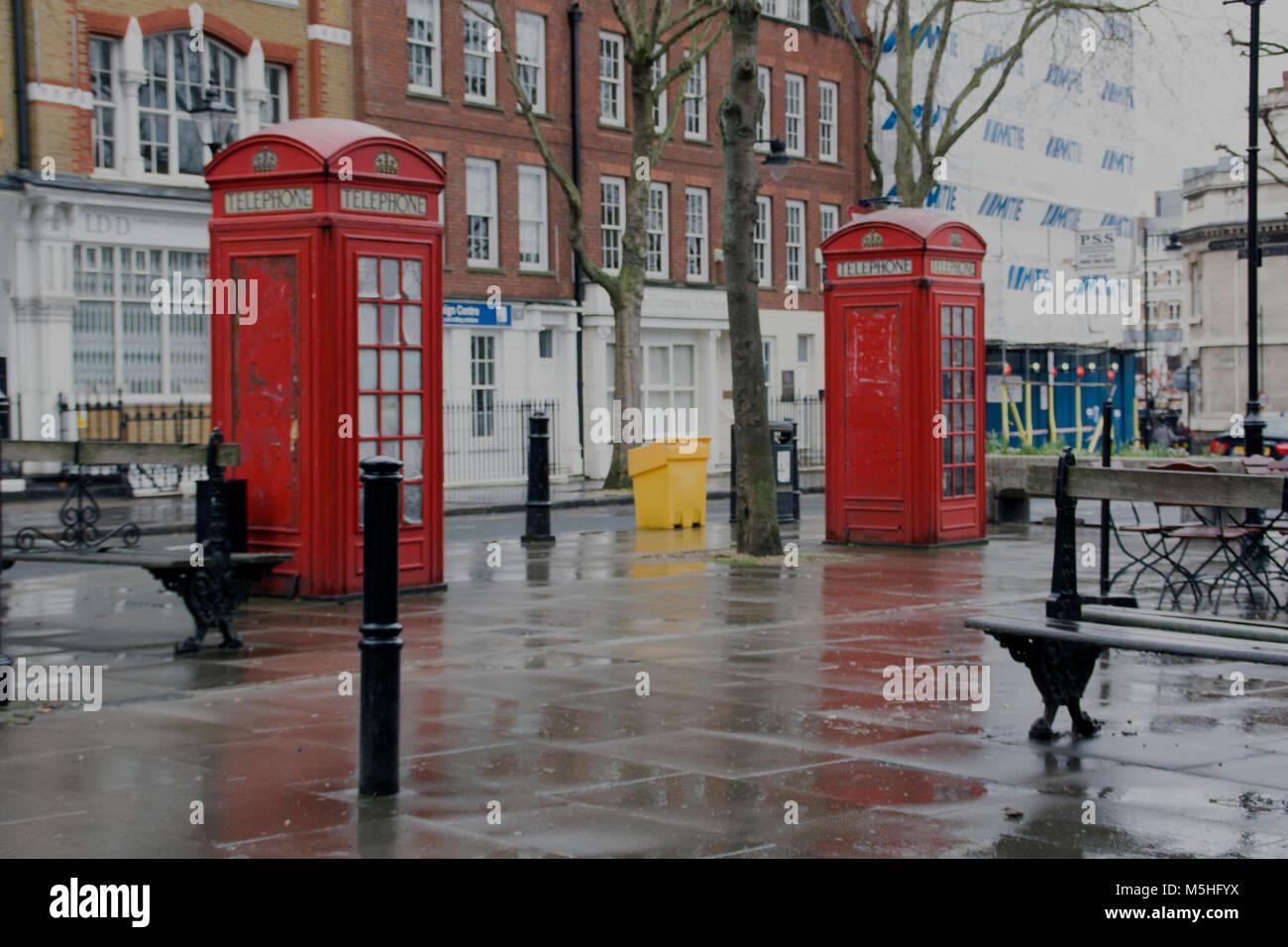 Red Telephone Boxs, Clerkenwell, London, England, UK. Credit: London Snapper - Stock Image