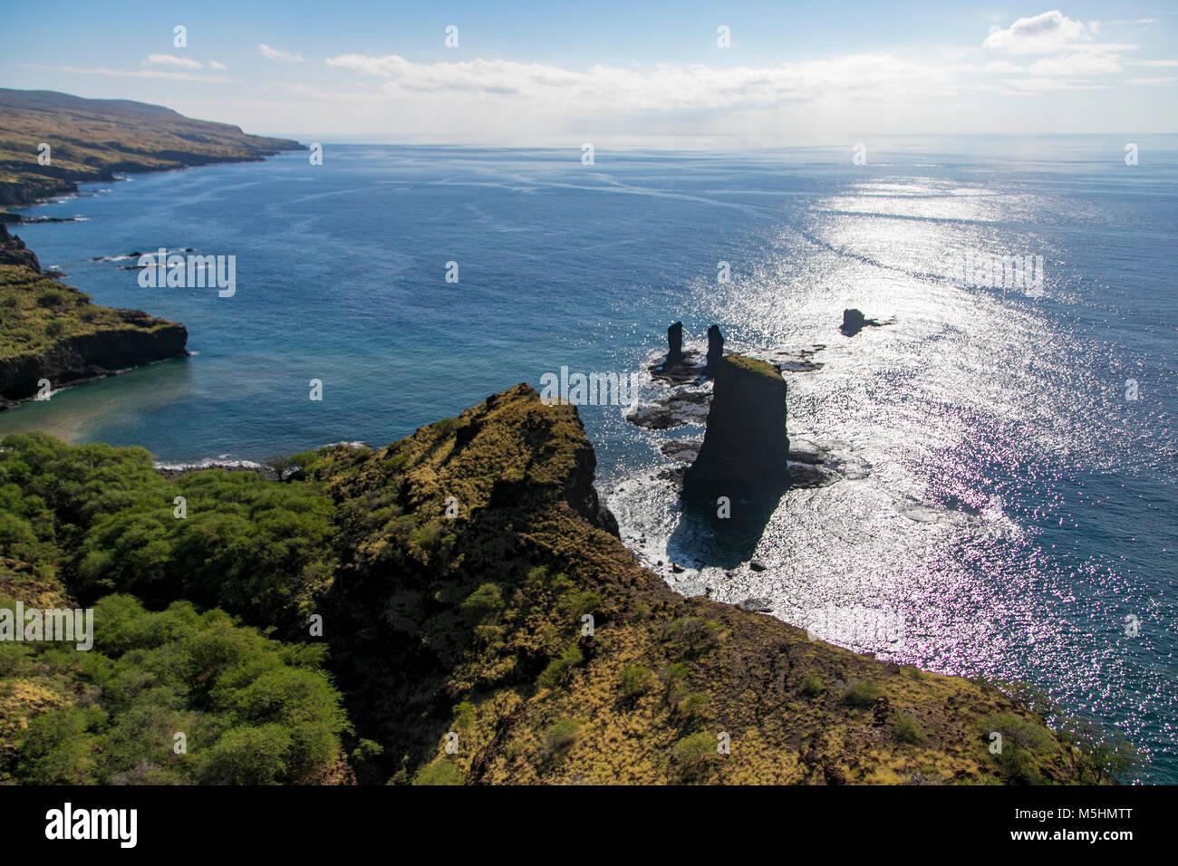 Honopu Bay, AKA, Three Sisters, Island of Lanai, Hawaii Stock Photo