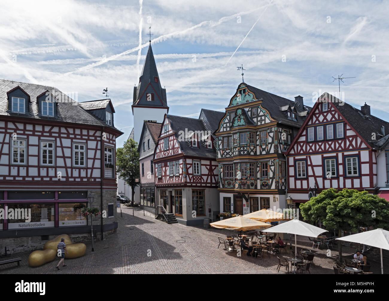 View of the Koenig-Adolf-Platz, Idstein, Hesse, Germany - Stock Image