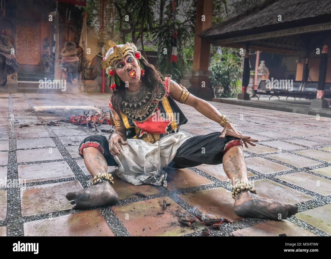 The fire eater, Kecak Fire Dance, Ubud, Bali - Stock Image