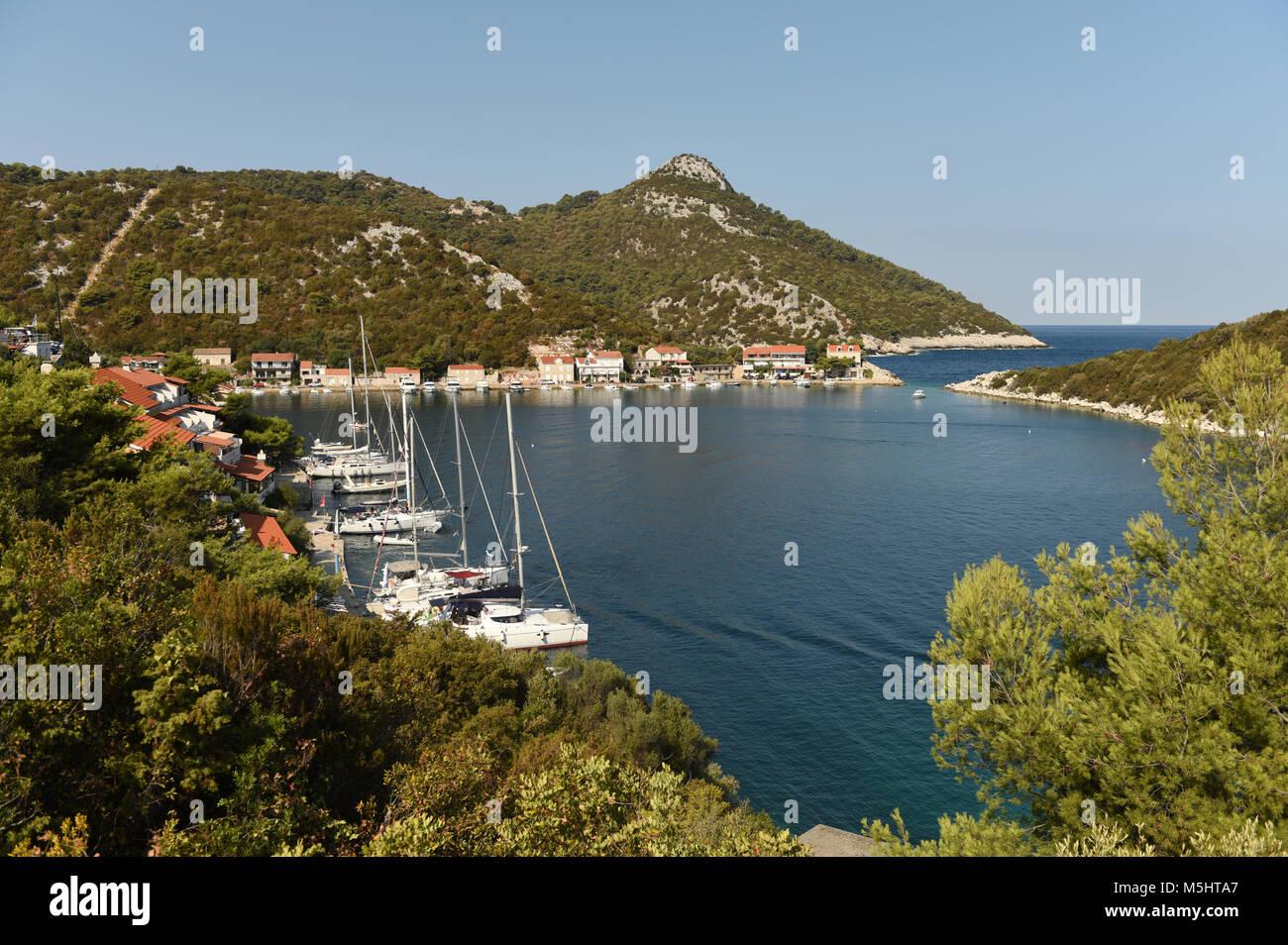 Village Zaklopatica on Lastovo island, Croatia. - Stock Image