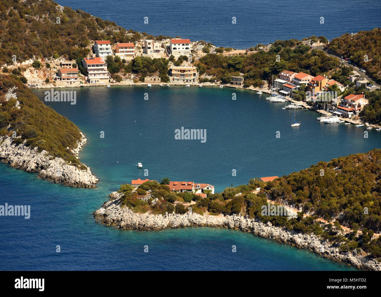 Small Adriatic village Zaklopatica on Lastovo island, Croatia. - Stock Image