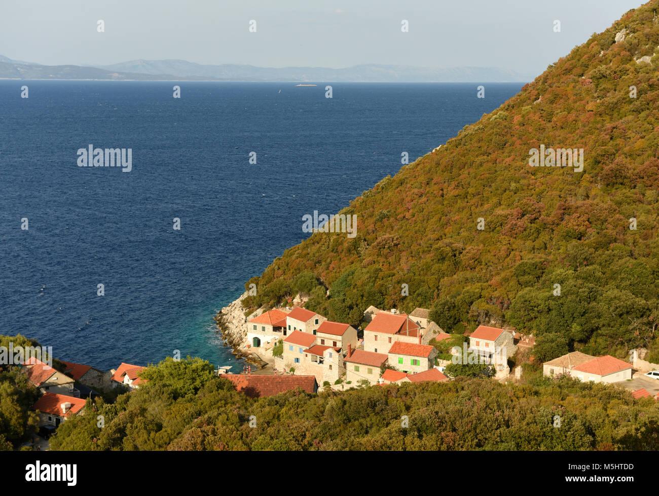 Luccica village on Lastovo island, Croatia. - Stock Image