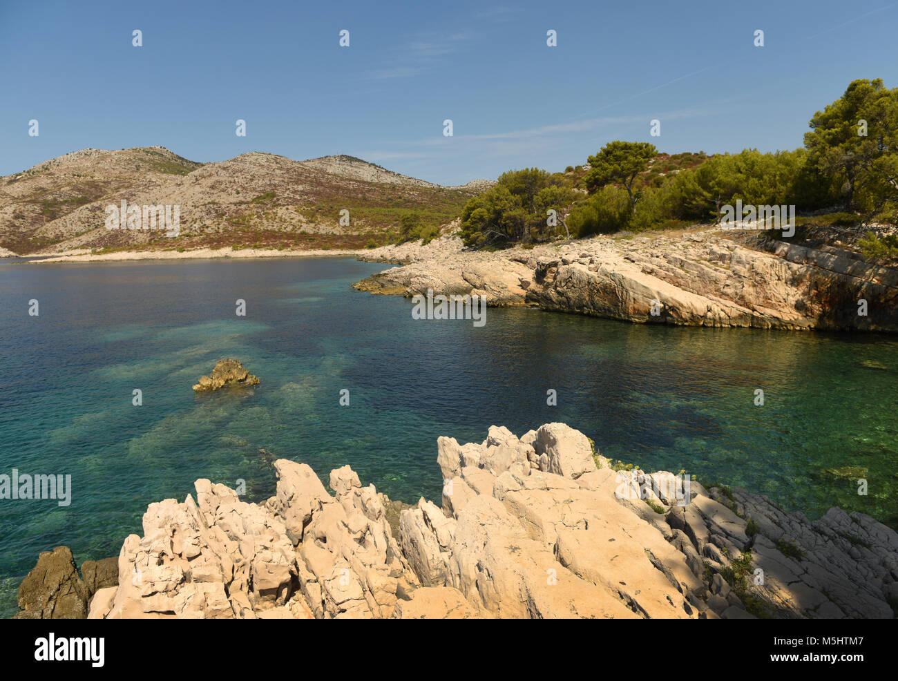 Beautiful mediterranean bay. Skrivena Luka, island of Lastovo, Croatia - Stock Image