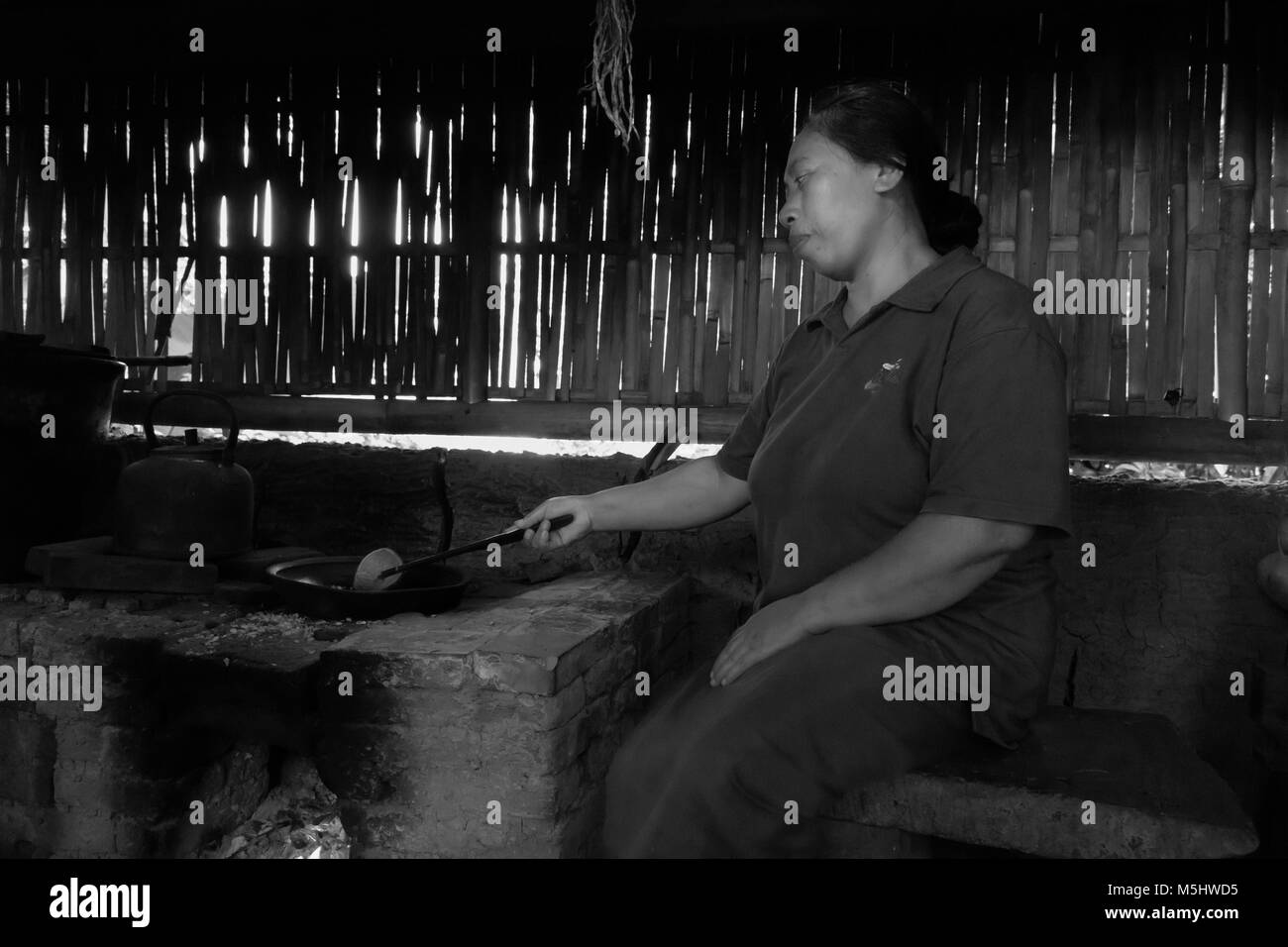Woman roasting coffee, Tegallalang Rice Terraces, Ubud, Bali - Stock Image