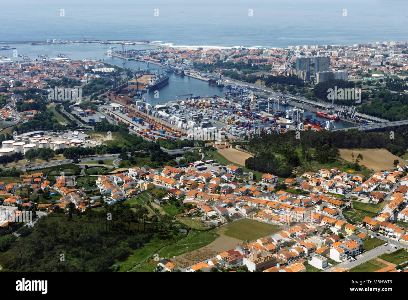 Aerial view to the port of Leixoes in Matosinhos, Porto, Portugal Stock Photo